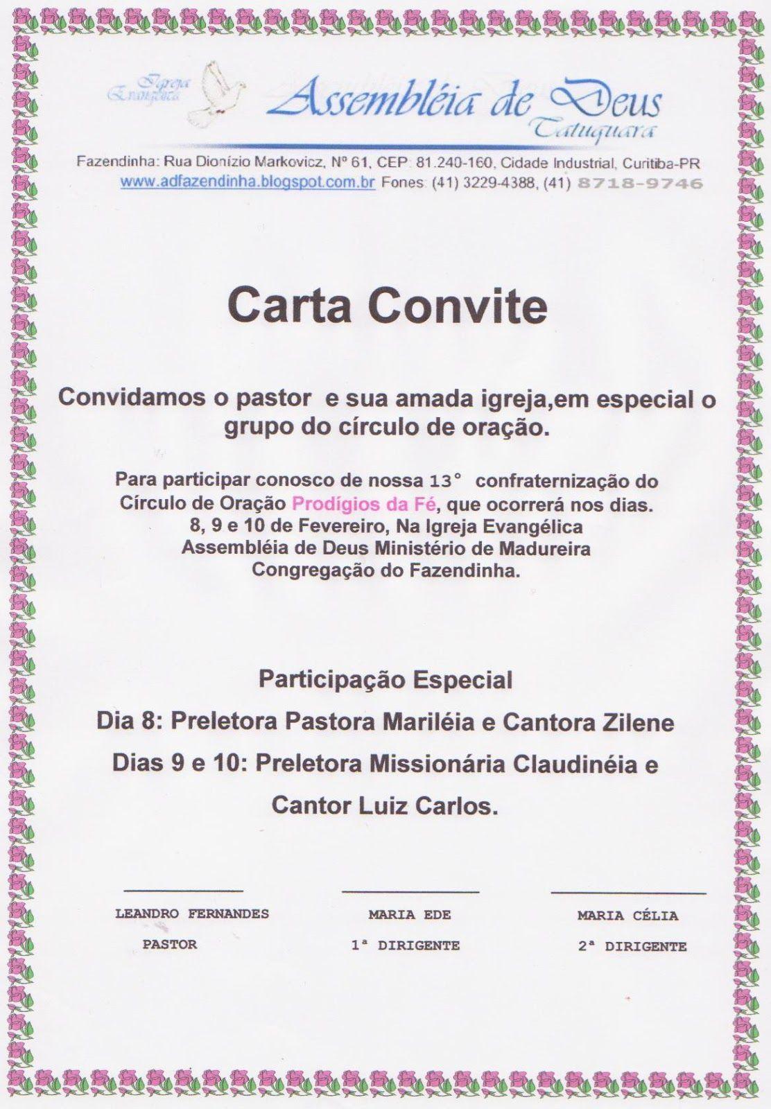 Modelo De Carta Convite De Igreja Evangelica