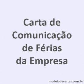 Comunicação de Férias da Empresa