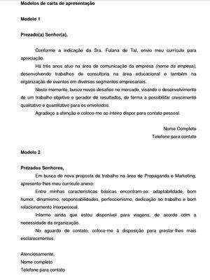 Carta de apresentação para estágio